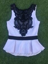 MIchelle Keegan Party Nude Peplum Style Top with Black  Lace & Sequin Size 10