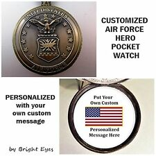 "CUSTOM Personalized USA Air Force Military Pocket Watch & 31"" Chain"
