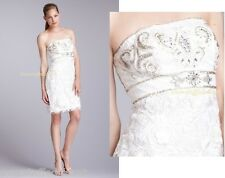 NWT $449 SUE WONG Strapless embroidered Floral Sheath Dress S 6