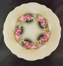 Vintage hand painted Raised Rose pattern on 8.5 inch dish beautiful unique