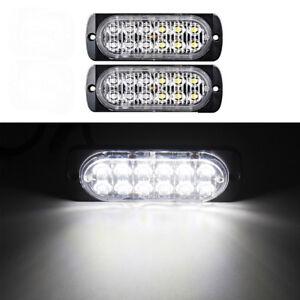 2x 12 LED White Light Emergency Warning Strobe Flashing Hazard Grill Lamp 12/24V