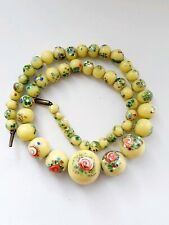 """Yellow Spatter Roses Necklace Venetian Glass 14"""" Art Deco"""