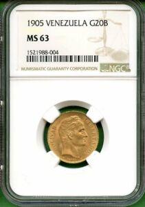 VENEZUELA  1905 GOLD   20 B   NGC MS  63     0.1869  OZ AU