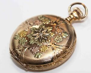 14K GOLD MULTI COLOR antique ELGIN HUNTING CASE POCKET WATCH w/ DIAMOND - c.1905