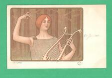 """RARE EARLY VINTAGE PAUL BERTHON ART NOUVEAU POSTCARD LADY WITH """"THE LYRE"""" TREES"""