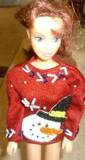 Dressy Beaded Snowman Sweater for Barbie & Friends doll