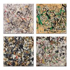 Quadri Pollock 4 Pezzi Stampa su Tela con Telaio in Legno arredo