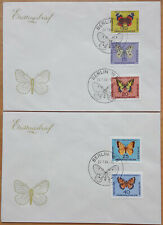 "1964 ""Germany, GDR, DDR"" Butterflies, complete set on 2 FDC! CAT 9$ LOOK!"