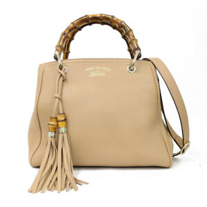 GUCCI Shoulder Bag Cross Body beige Handbag Bamboo from japan