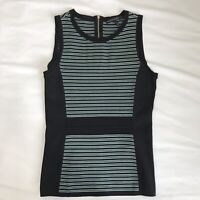 White House Black Market Teal And Black Knit Stripes Top Blouse Shirt Size Small