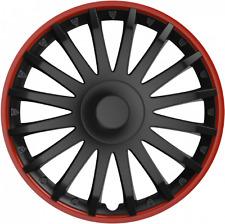 "FIAT 500 (12 in) 14"" 14 in (ca. 35.56 cm) AUTO FURGONE rifiniture ruota Hub Caps Rosso & Nero"