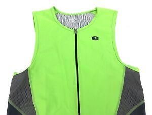 Sugoi Cycling Shirt Tank Top Sz Large Mens Neon Green Half Zip