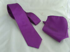 "< GG > Cadbury Purple Polyester Mens Skinny Tie and Hankie Set - 2.5"" = 6cm"