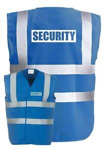 SECURITY Blue Hi-Vis High-Vis Visibility Safety Vest/Waistcoat