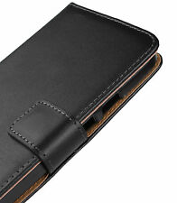 Black Genuine Leather Wallet Card Case Cover for Moto G 2nd Gen 2014 XT1068