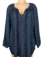 Counterparts Women's Size 3X Blue White Blouse Top Polka Dots 3/4 Sleeve V-Neck