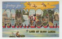 [69713] OLD LARGE LETTER POSTCARD GREETINGS from MINNESOTA
