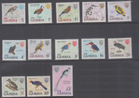 BIRD255 - GAMBIA 1966 DEFINITIVE BIRDS STAMPS SET 13V SC 215-27 MNH