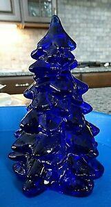 """Mosser Glass COBALT BLUE Medium Christmas Tree Figurine 5.5"""""""