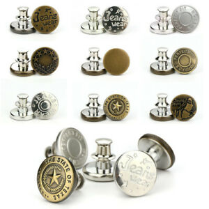 15Pcs Metal Button Pins for Jeans No Sew Detachable Waist Instant Button Set