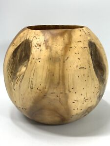 """Unknown Wood Burl Wood Bowl Handmade Burled Wood Country Decor Round 4lbs 8"""" Dia"""