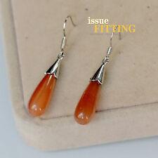 Pendientes Plateado Gota Piedra Ojos de Tigre Naranja Clase Retro CC 9