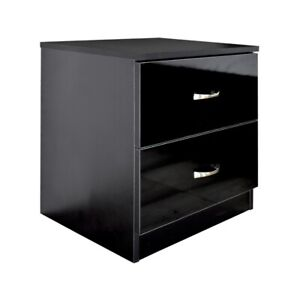 Black High Gloss Bedside Cabinet with 2 Drawers. Bedroom Furniture. Metal Handle