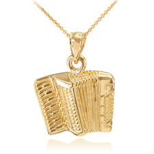 Solid Gold Music Accordion Banda Corridos Pendant Necklace