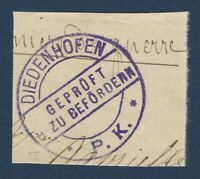 "DIEDENHOFEN P.K. THIONVILLE POSTMARK ON PAPER, ""CHECKED FOR DISORDER""?"