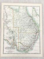 1896 Antik Map Of Australia Neu South Wales Queensland 19th Jahrhundert Johnston