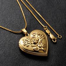 Damen Kette Gold 999 mit Medaillon Foto Amulett Herz Anhänger 24 Karat Vergoldet