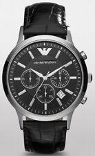 •• Emporio Armani AR2447 Herrenuhr Chrono Leder Armband Farbe Schwarz Neu ••
