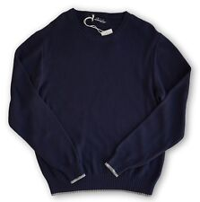 NWT FIVE FOUR Navy Blue Cotton Crewneck Pullover Sweater Mens Large