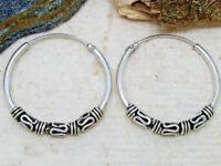Keltische Creolen mit Verzierung 925 Silber Ohrringe Ø 25mm Bali Creole