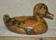 "Ceramic Duck W Decoupage Pattern Cover Vintage Handpainted Eyes 5"" x 9"" Nice"