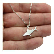 Cute Silver Shark Pendant Necklace Women's Fashion Animal Necklace H1L5
