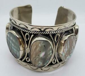 "Sterling Silver 925 Cuff Bracelet Abalone Shell 78 grams Approximately 2"" wide"