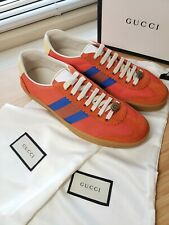 *NWB GUCCI mens g74 Casual Shoes Nylon Sneakers size 9 orange/Blue