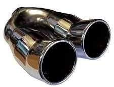 75mm TWIN Tubo Di Scarico Coda Punta AUTO Chrome Trim UNIVERSALE SALDATURA A Indietro Box