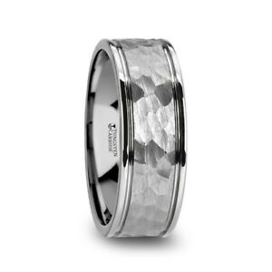 Thornton Hammered Finish Tungsten Carbide Band With Grooves And Polished Edges