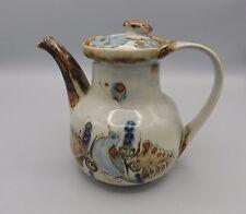 Vintage Ken Edwards Tonala Blue Teapot El Palomar Mexico Birds Butterflies