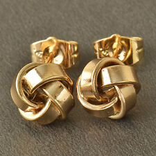 Very Pretty New 9K Solid Yellow Gold Filled Retro Love Knot Stud Post Earrings~