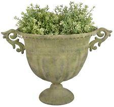 45 cm Umtopf grün Aged Metall Vase Pokal Kübel Blumentopf Amphore Pokal Esschert