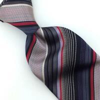ETRO Milano Tie Italy Stripes Gray Blk Red Woven Necktie Luxury Silk L5-F New