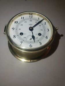 RARE VTG. Schatz W. German SWIFT INSTRUMENTS Wind Up Brass Nautical Ship Clock