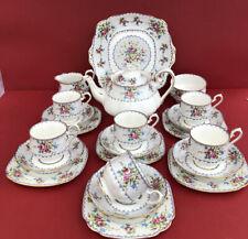 More details for vintage royal albert petit point 1934 tea set 21 piece with  large teapot
