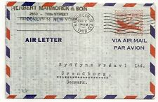 AIR LETTER  USA UNITED STATES TO DENMARK BROOKLYN N.Y.  1950. L377