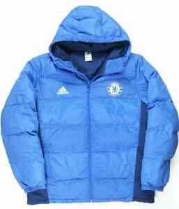 Adidas 2014/15 Chelsea FC Grey Duck Down Jacket Mens 2XL Blue Full Zip M30932