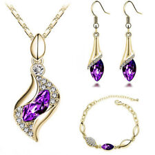 Women Jewelry Set CZ Crystal 18k Gold Plated Chain Necklace Earring Bracelet Set