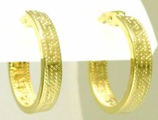 Damen Creolen Ohrringe 585 Gold Mäander gemustert ca 14,5 mm D.messer 3 mm breit